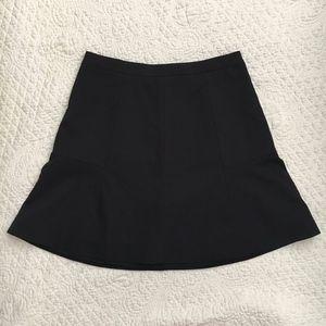 J. Crew Fluted Mini Skirt Double Crepe Black 00